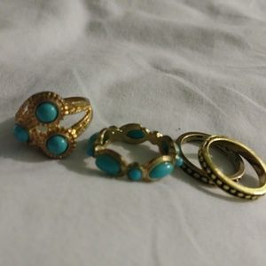 Jewelry - 4 Womens Gold & Turquoise Rings sz 6